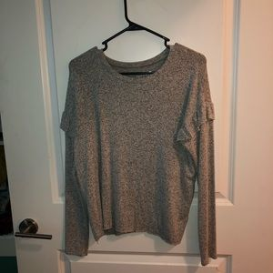 Grey ruffle long sleeve